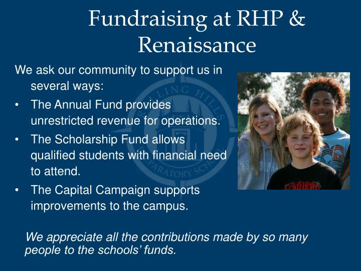 Fundraising at RHP & Renaissance