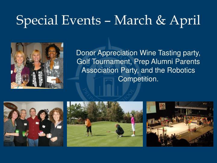 Special Events – March & April