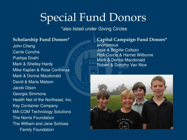 Special Fund Donors