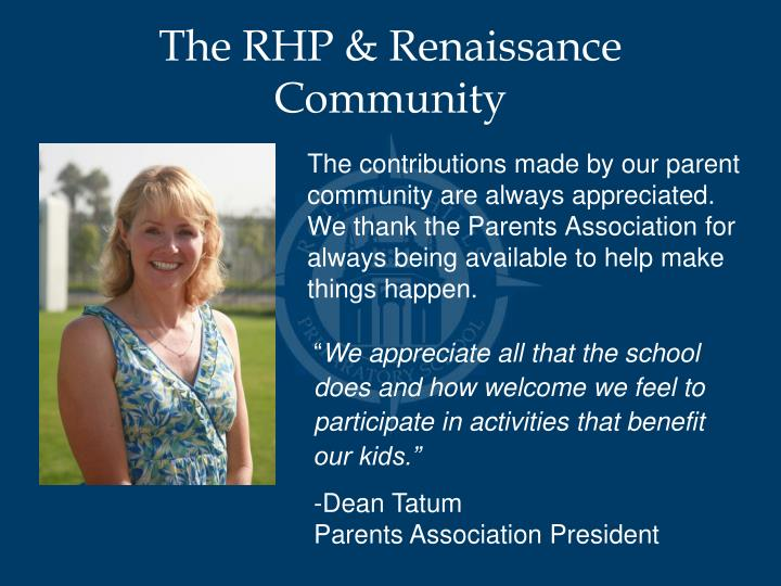The RHP & Renaissance Community