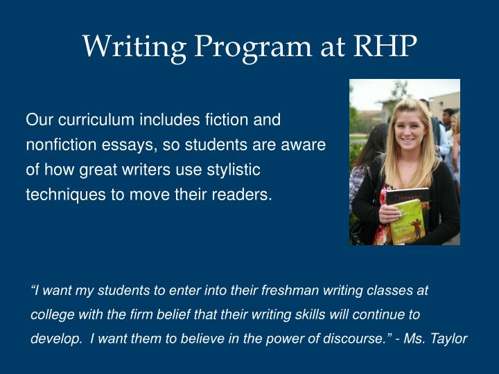Writing Program at RHP