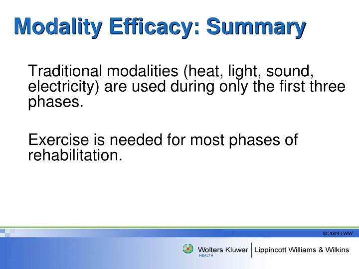 Modality Efficacy: Summary