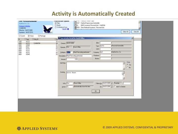 Activity is Automatically Created
