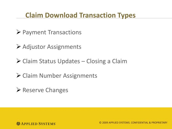 Claim Download Transaction Types