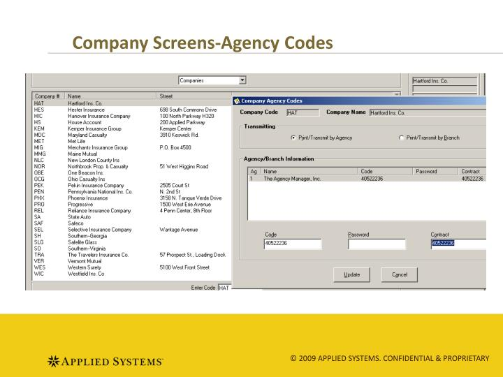 Company Screens-Agency Codes
