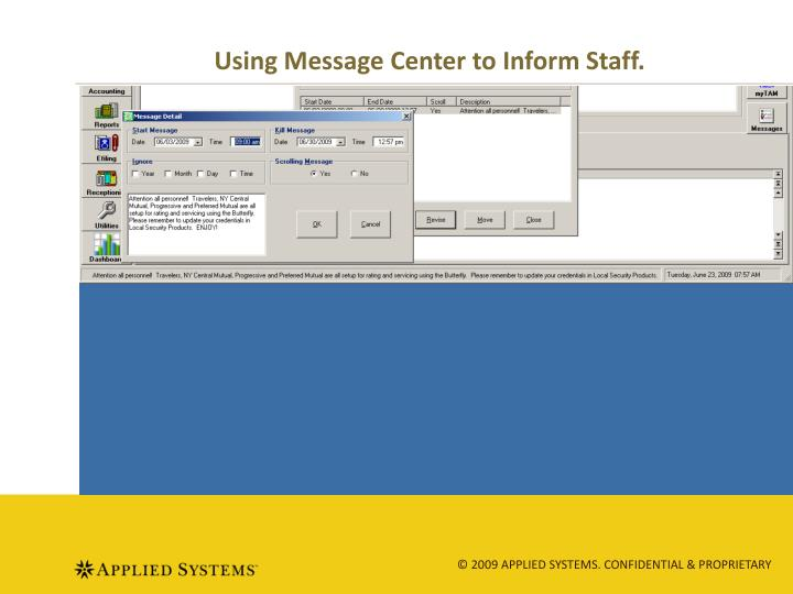 Using Message Center to Inform Staff.