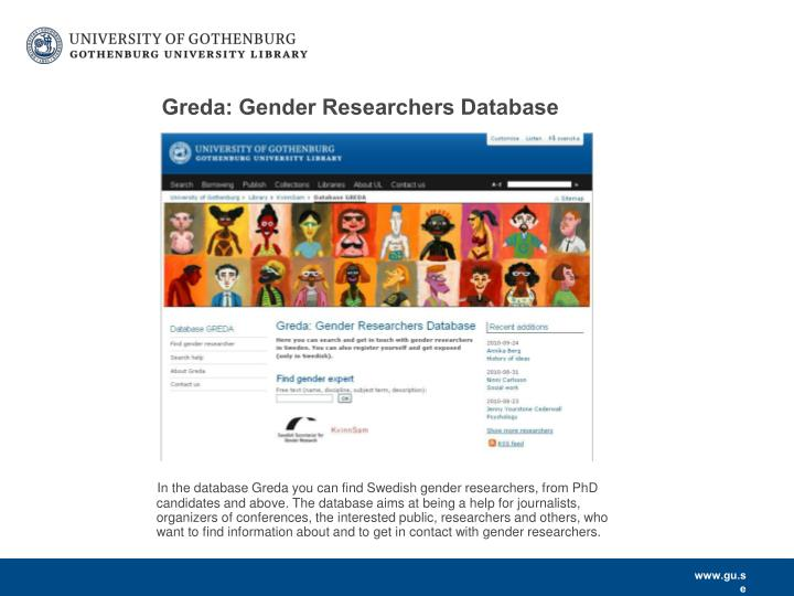 Greda: Gender Researchers Database
