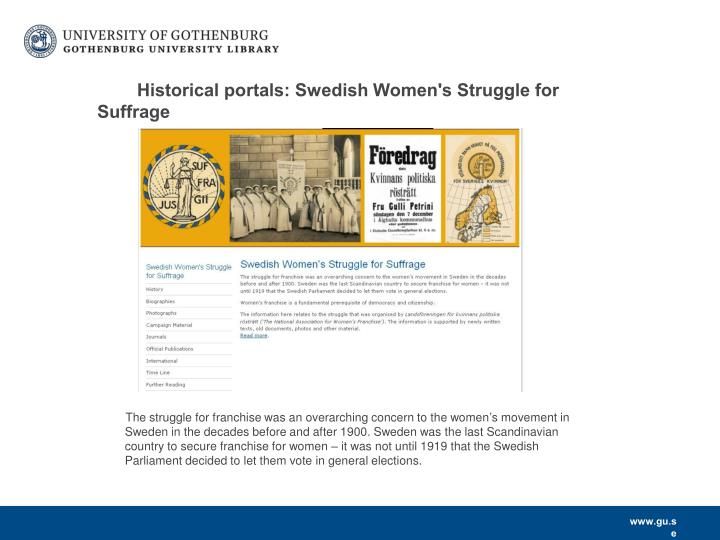 Historical portals: Swedish Women's Struggle for Suffrage