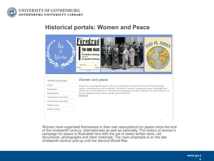 Historical portals: Women and Peace