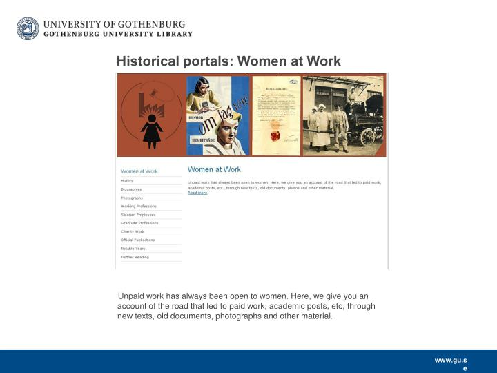 Historical portals: Women at Work