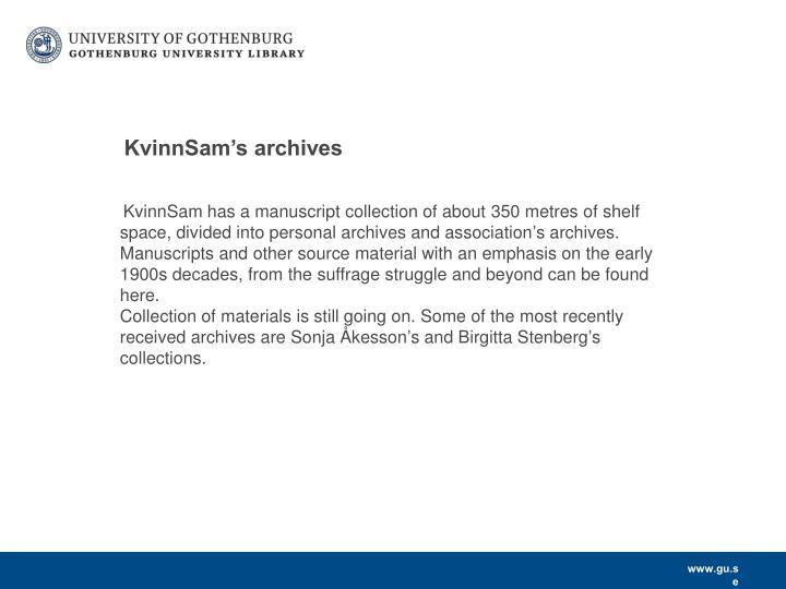 KvinnSam's archives