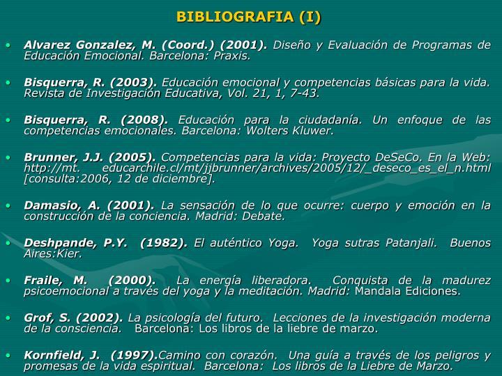 BIBLIOGRAFIA (I)