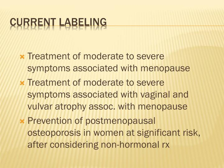 Treatment of moderate to severe symptoms associated with menopause