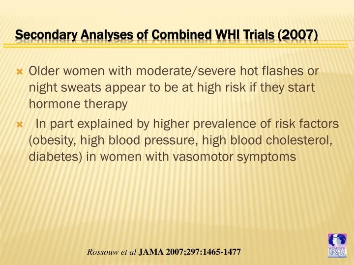 Older women with moderate/severe hot flashes or night sweats appear to be at high risk if they start hormone therapy