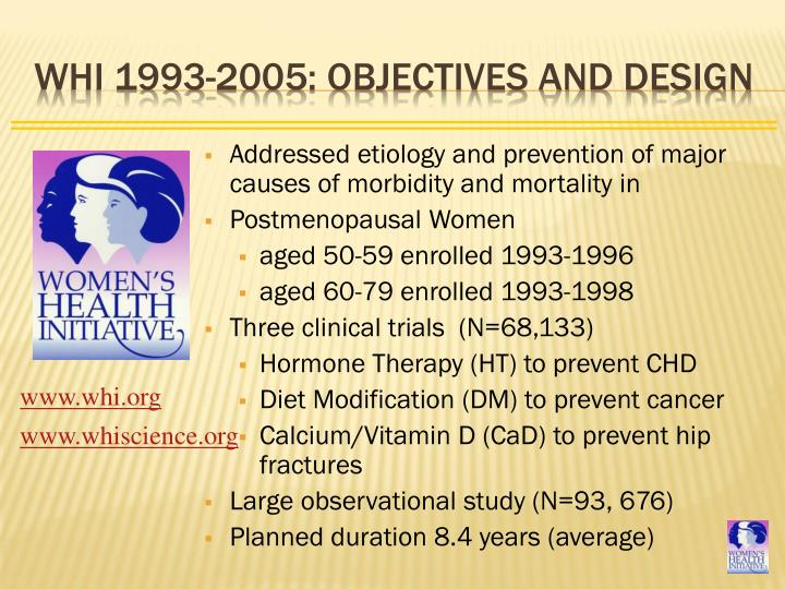 WHI 1993-2005: Objectives and Design