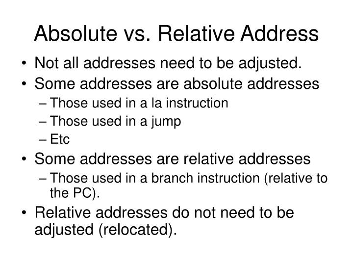 Absolute vs. Relative Address