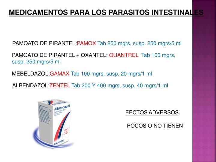 MEDICAMENTOS PARA LOS PARASITOS INTESTINALES