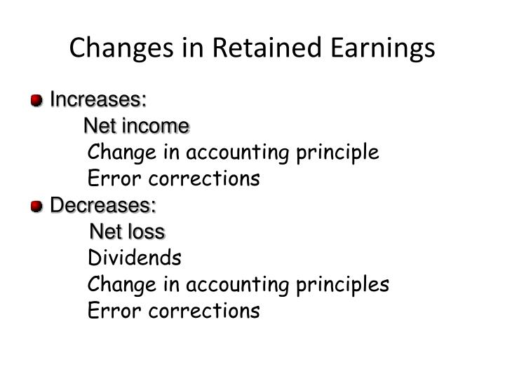 Changes in Retained Earnings