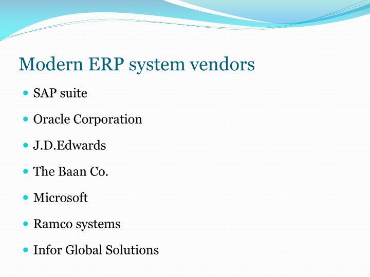 Modern ERP system vendors