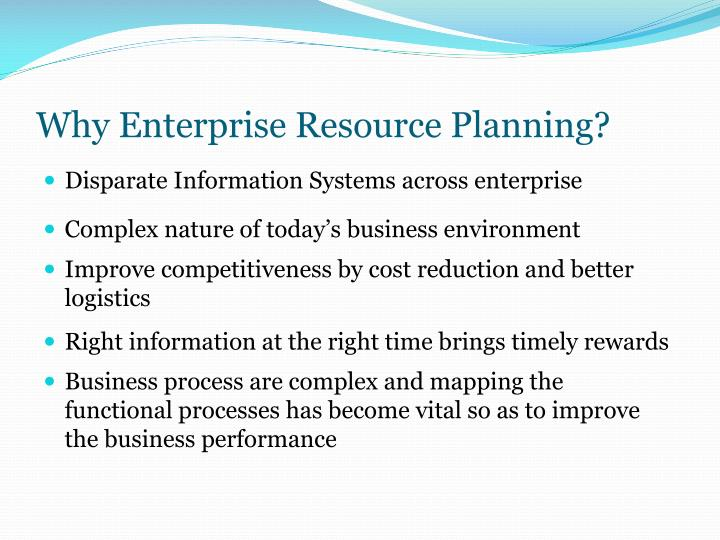 Why Enterprise Resource Planning?