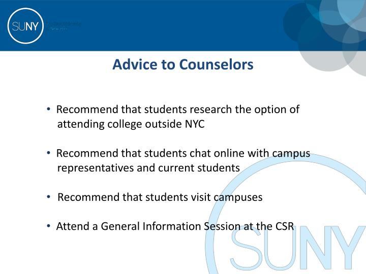 Advice to Counselors