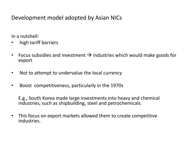 Development model adopted by Asian NICs
