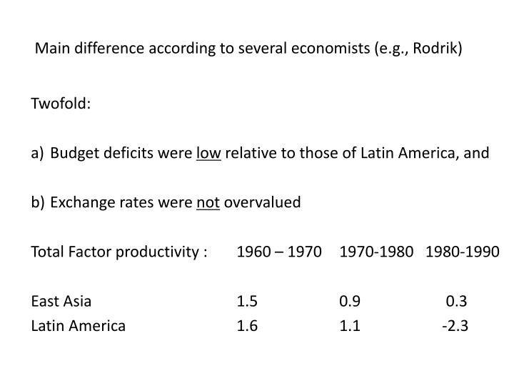 Main difference according to several economists (e.g., Rodrik)