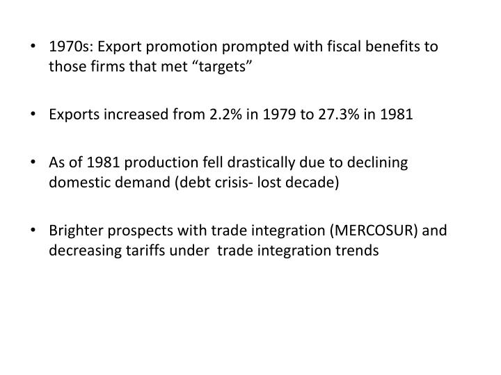 "1970s: Export promotion prompted with fiscal benefits to those firms that met ""targets"""