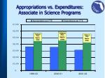 appropriations vs expenditures associate in science programs