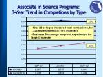 associate in science programs 3 year trend in completions by type