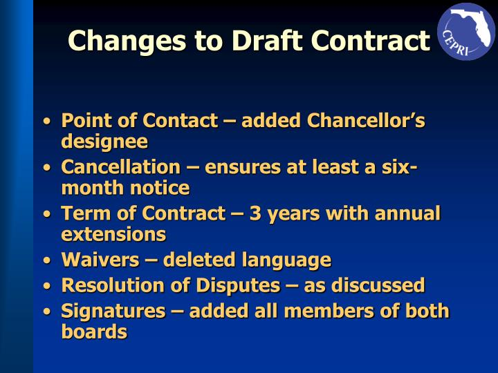 Changes to Draft Contract