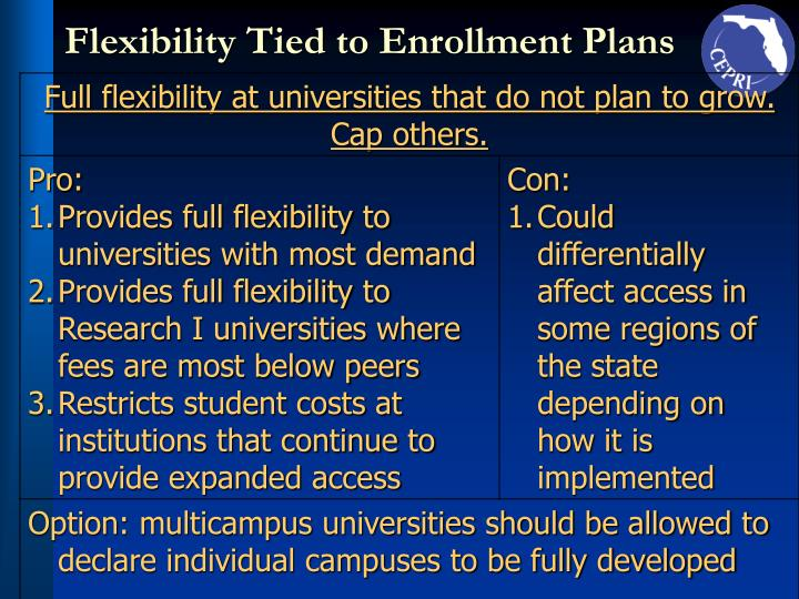 Flexibility Tied to Enrollment Plans