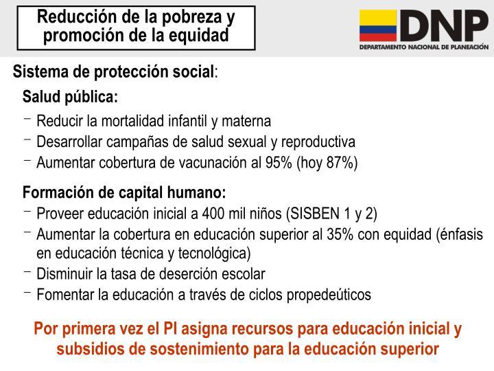Reducción de la pobreza y promoción de la equidad