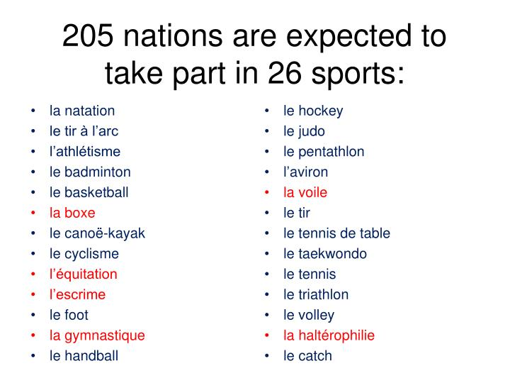 205 nations are expected to take part in 26 sports