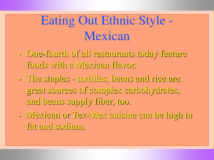 Eating Out Ethnic Style -