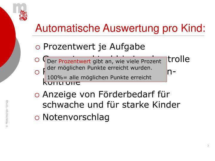 Automatische Auswertung pro Kind: