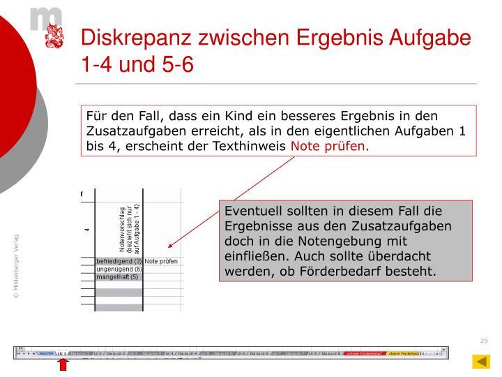 Diskrepanz zwischen Ergebnis Aufgabe 1-4 und 5-6
