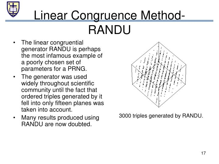 Linear Congruence Method- RANDU