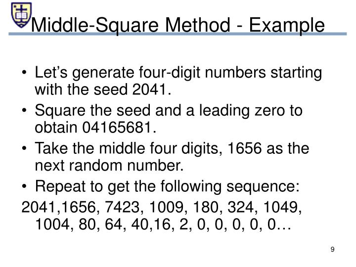 Let's generate four-digit numbers starting with the seed 2041.
