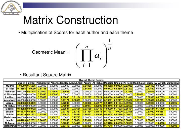 Matrix Construction