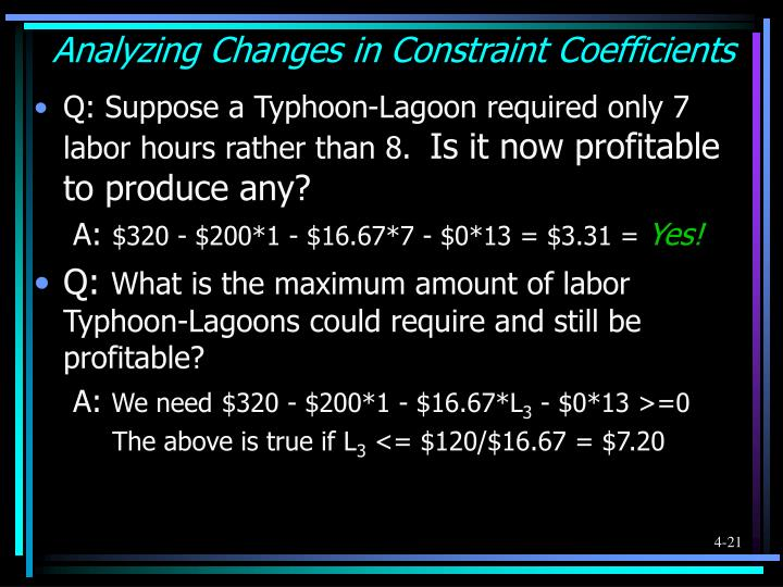 Analyzing Changes in Constraint Coefficients