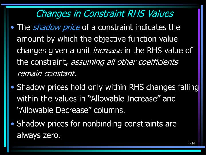Changes in Constraint RHS Values