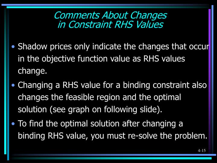 Comments About Changes
