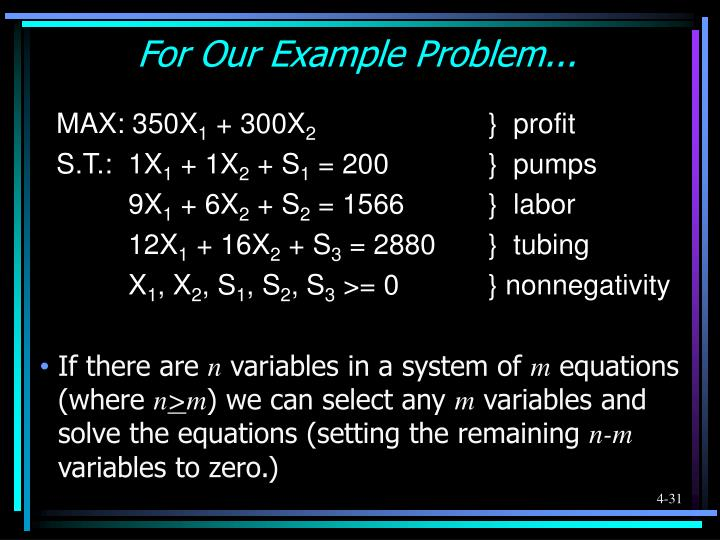 For Our Example Problem...