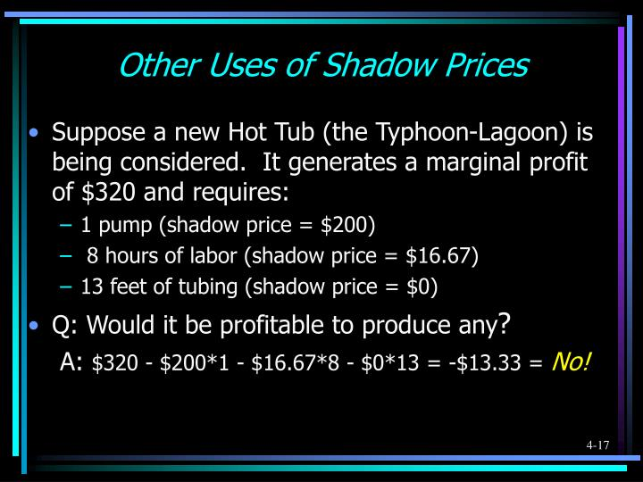 Other Uses of Shadow Prices
