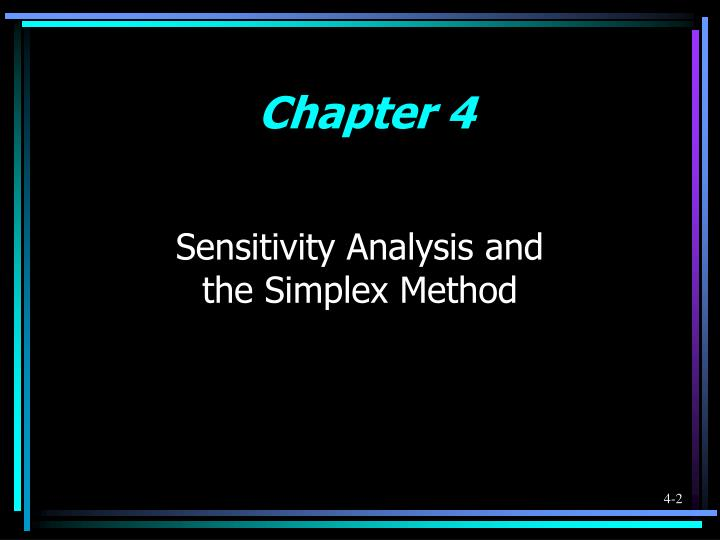 Sensitivity analysis and the simplex method