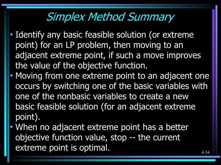Simplex Method Summary