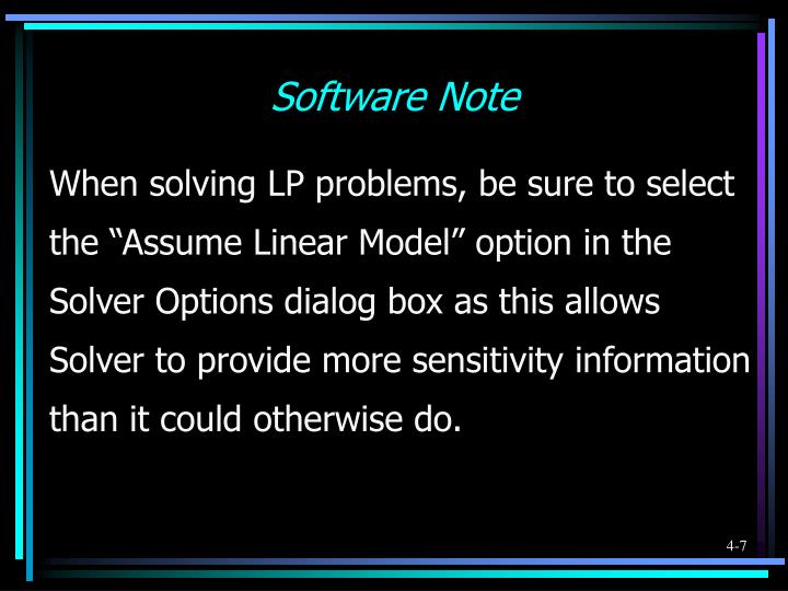 Software Note