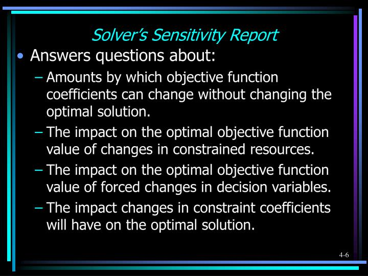 Solver's Sensitivity Report
